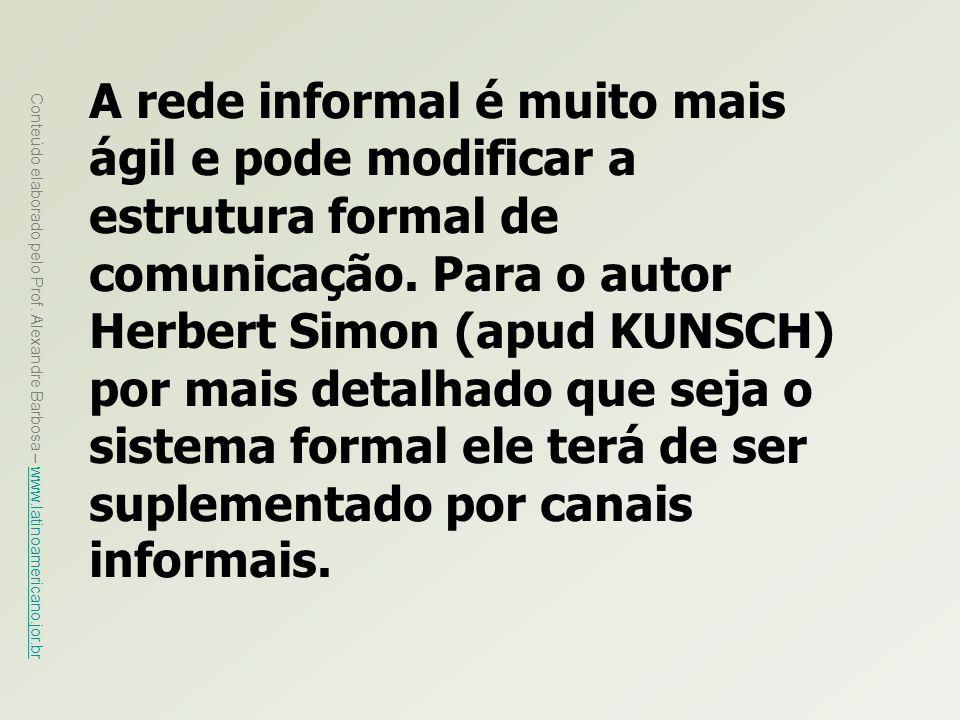 A rede informal é muito mais ágil e pode modificar a estrutura formal de comunicação.