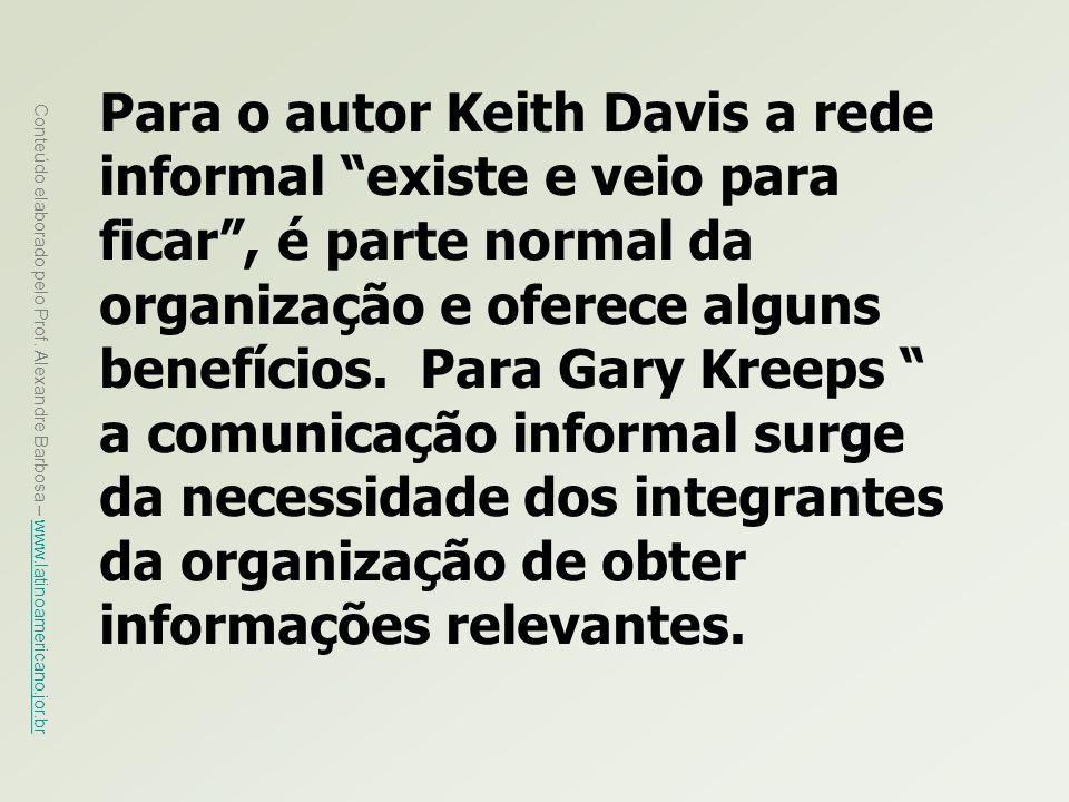 Para o autor Keith Davis a rede informal existe e veio para ficar , é parte normal da organização e oferece alguns benefícios.