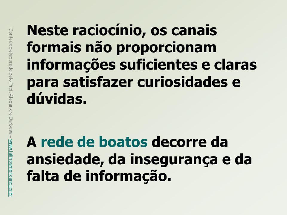 Neste raciocínio, os canais formais não proporcionam informações suficientes e claras para satisfazer curiosidades e dúvidas.