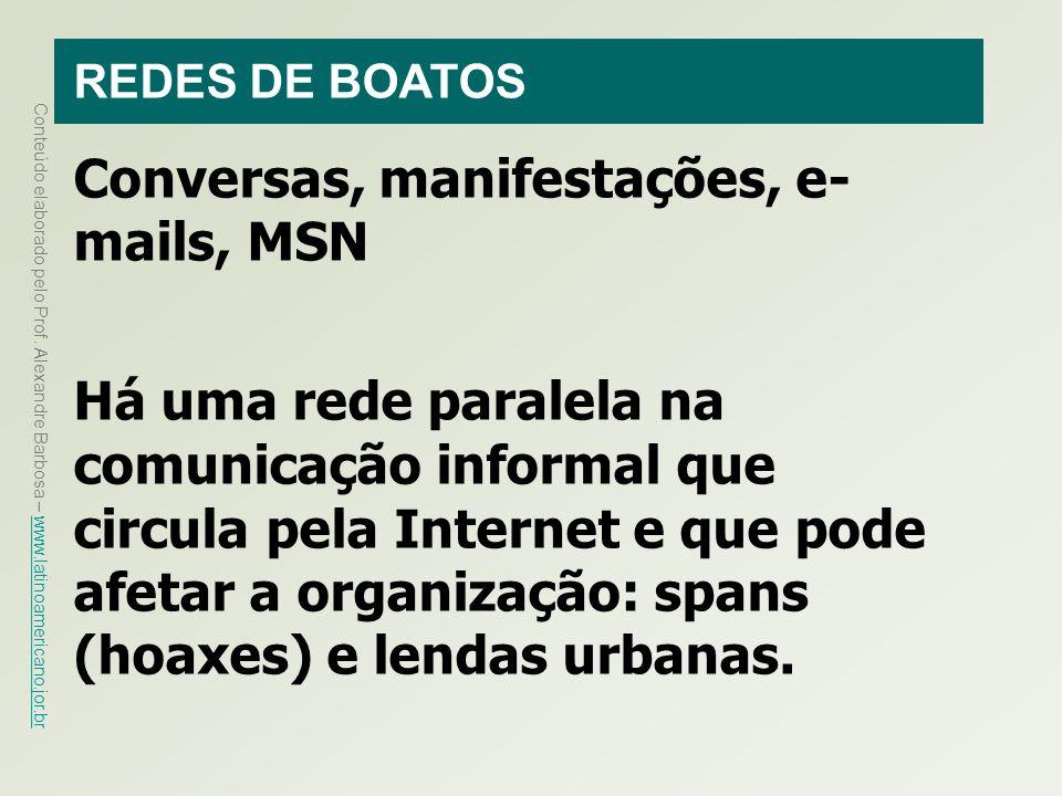 Conversas, manifestações, e-mails, MSN