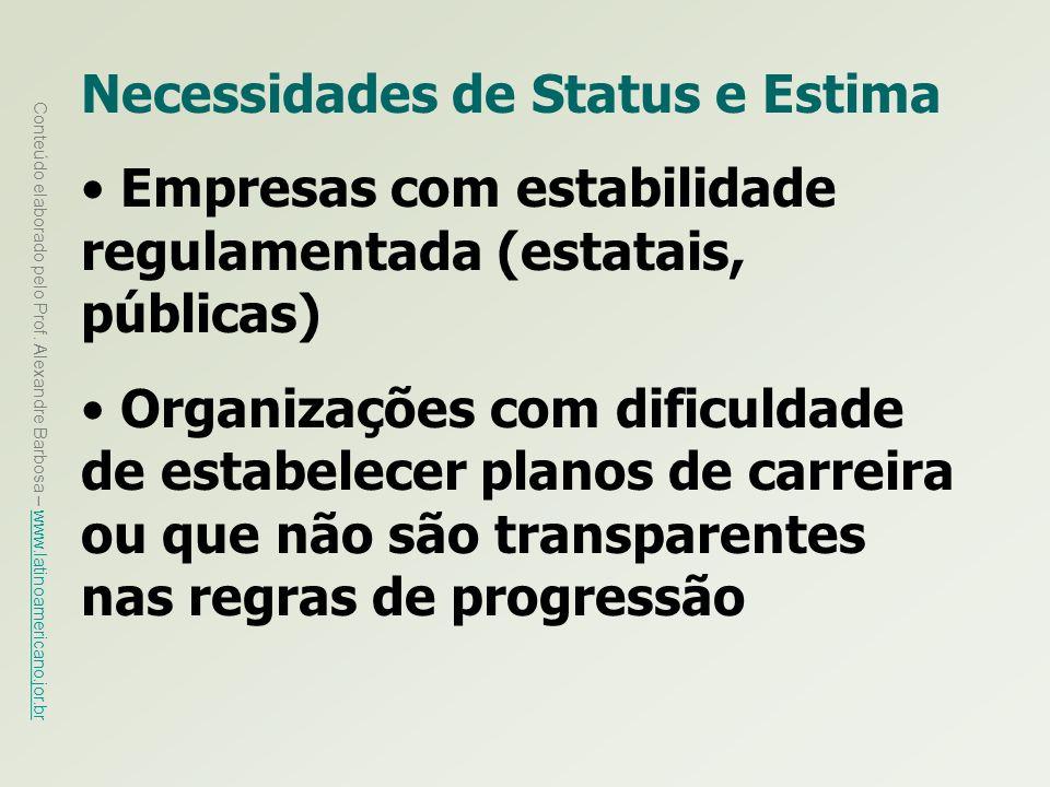 Necessidades de Status e Estima