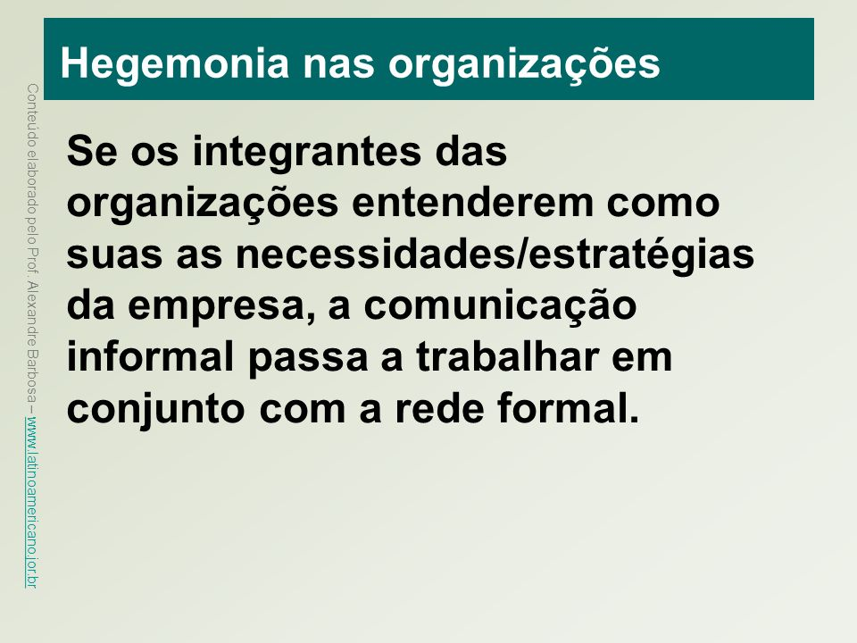 Hegemonia nas organizações