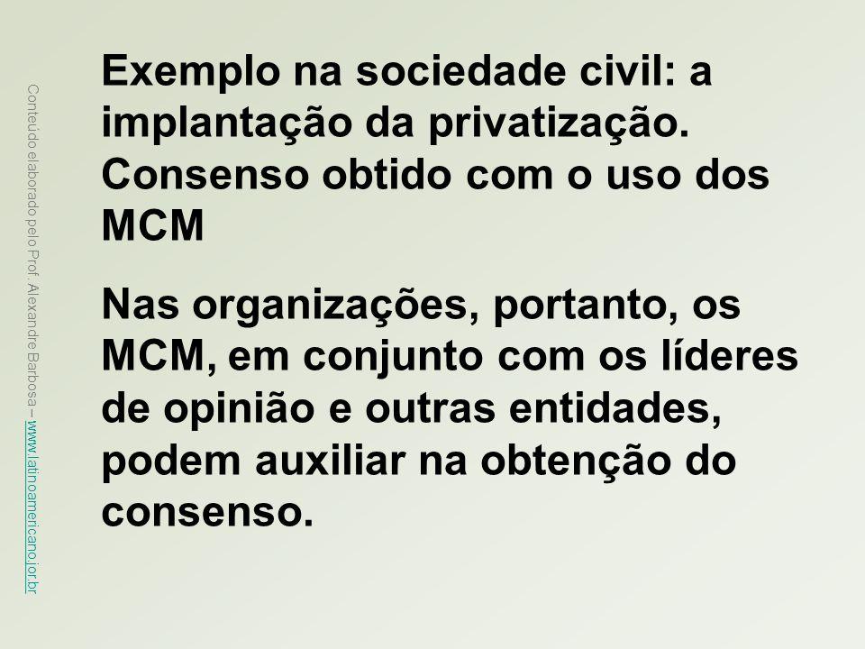 Exemplo na sociedade civil: a implantação da privatização