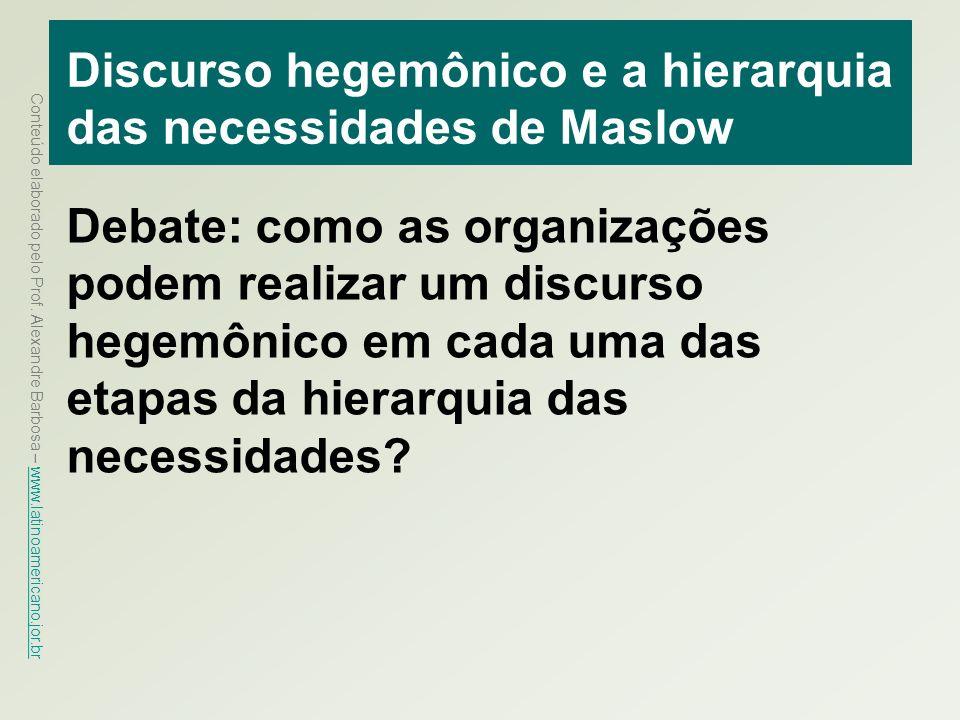 Discurso hegemônico e a hierarquia das necessidades de Maslow