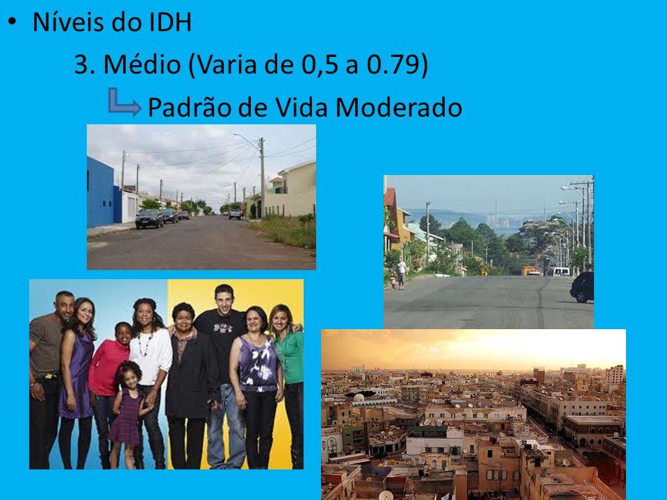 Níveis do IDH 3. Médio (Varia de 0,5 a 0.79) Padrão de Vida Moderado