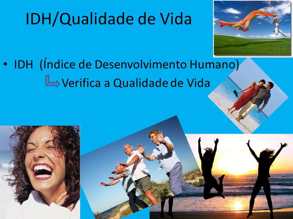 IDH/Qualidade de Vida IDH (Índice de Desenvolvimento Humano)