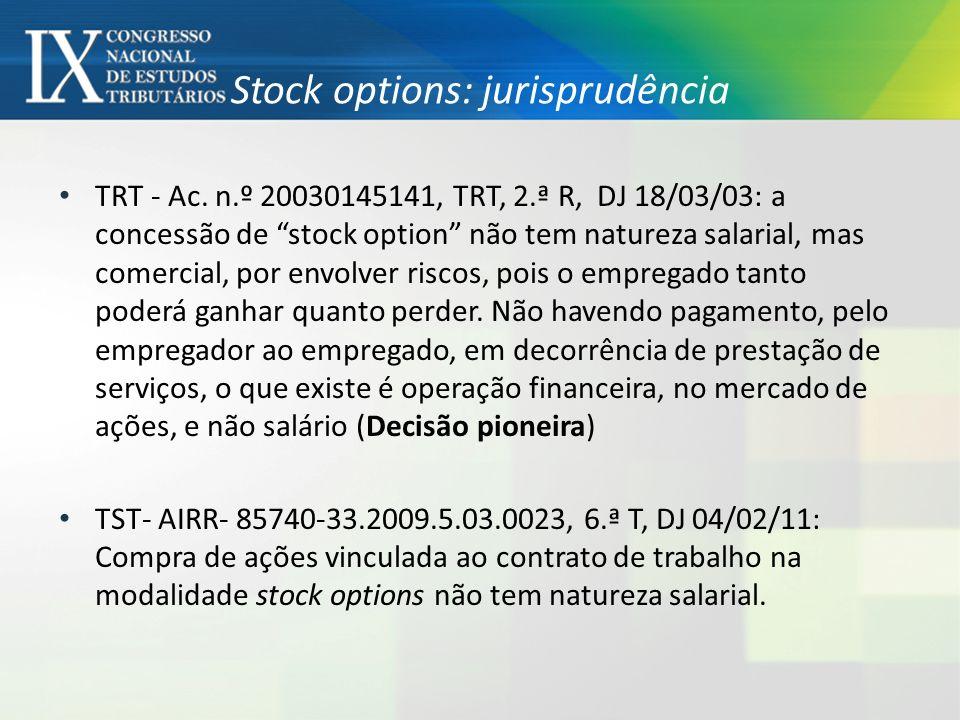 Stock options tem natureza salarial