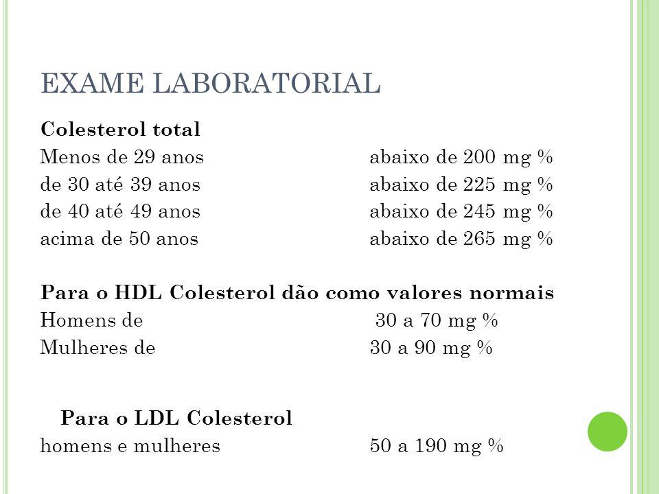 EXAME LABORATORIAL Colesterol total