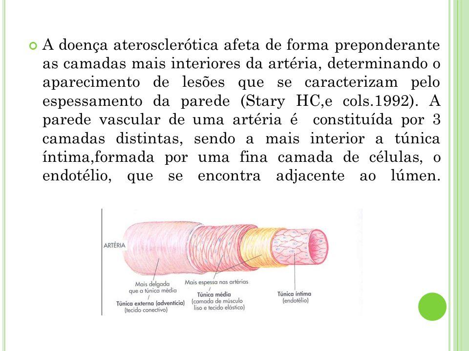 A doença aterosclerótica afeta de forma preponderante as camadas mais interiores da artéria, determinando o aparecimento de lesões que se caracterizam pelo espessamento da parede (Stary HC,e cols.1992).