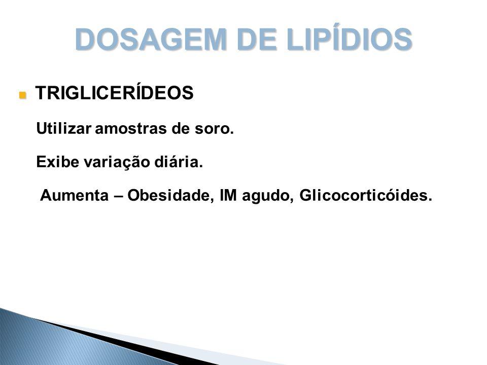 DOSAGEM DE LIPÍDIOS TRIGLICERÍDEOS Utilizar amostras de soro.