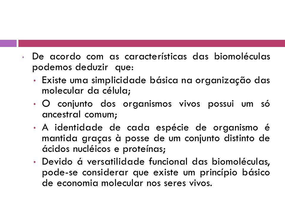 De acordo com as características das biomoléculas podemos deduzir que: