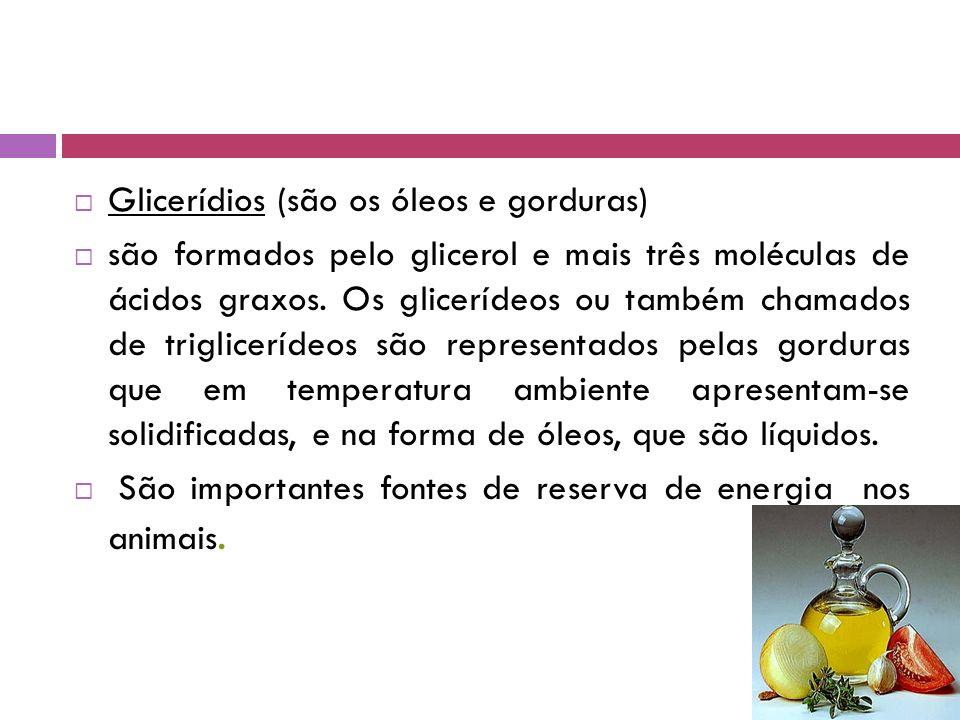 Glicerídios (são os óleos e gorduras)