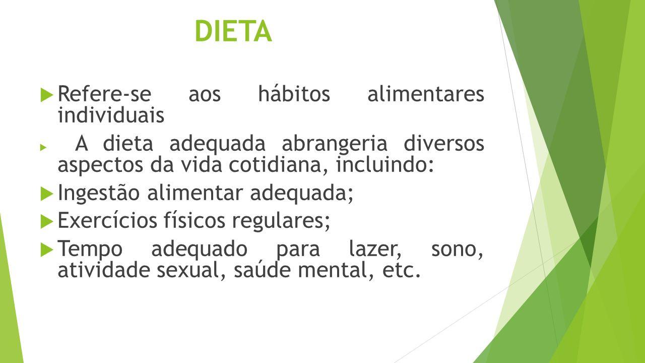DIETA Refere-se aos hábitos alimentares individuais