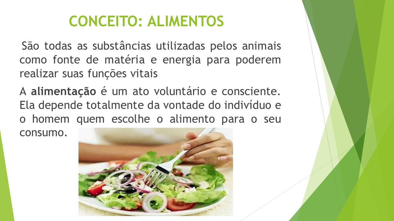 CONCEITO: ALIMENTOS São todas as substâncias utilizadas pelos animais como fonte de matéria e energia para poderem realizar suas funções vitais.