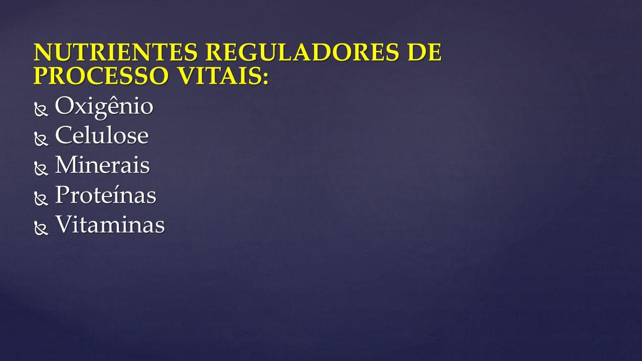 NUTRIENTES REGULADORES DE PROCESSO VITAIS: