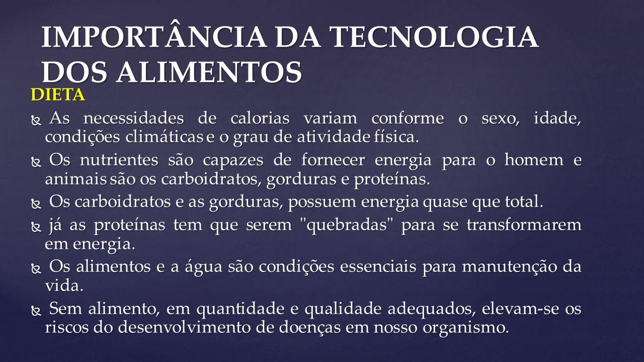 IMPORTÂNCIA DA TECNOLOGIA DOS ALIMENTOS