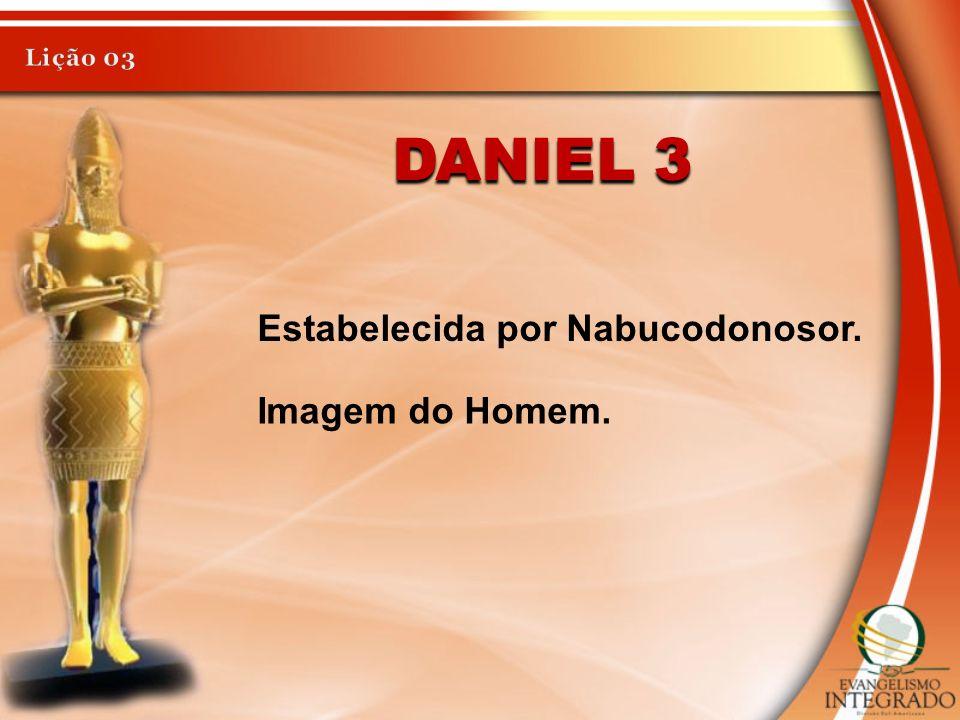 Lição 03 Daniel 3 Estabelecida por Nabucodonosor. Imagem do Homem.