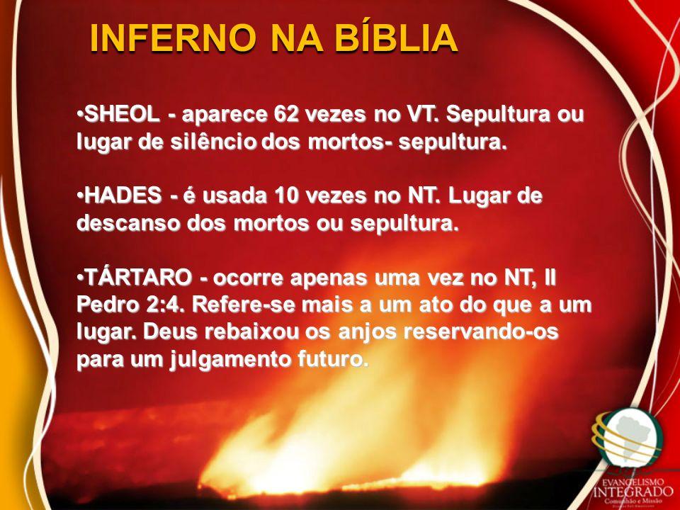 INFERNO NA BÍBLIA SHEOL - aparece 62 vezes no VT. Sepultura ou lugar de silêncio dos mortos- sepultura.
