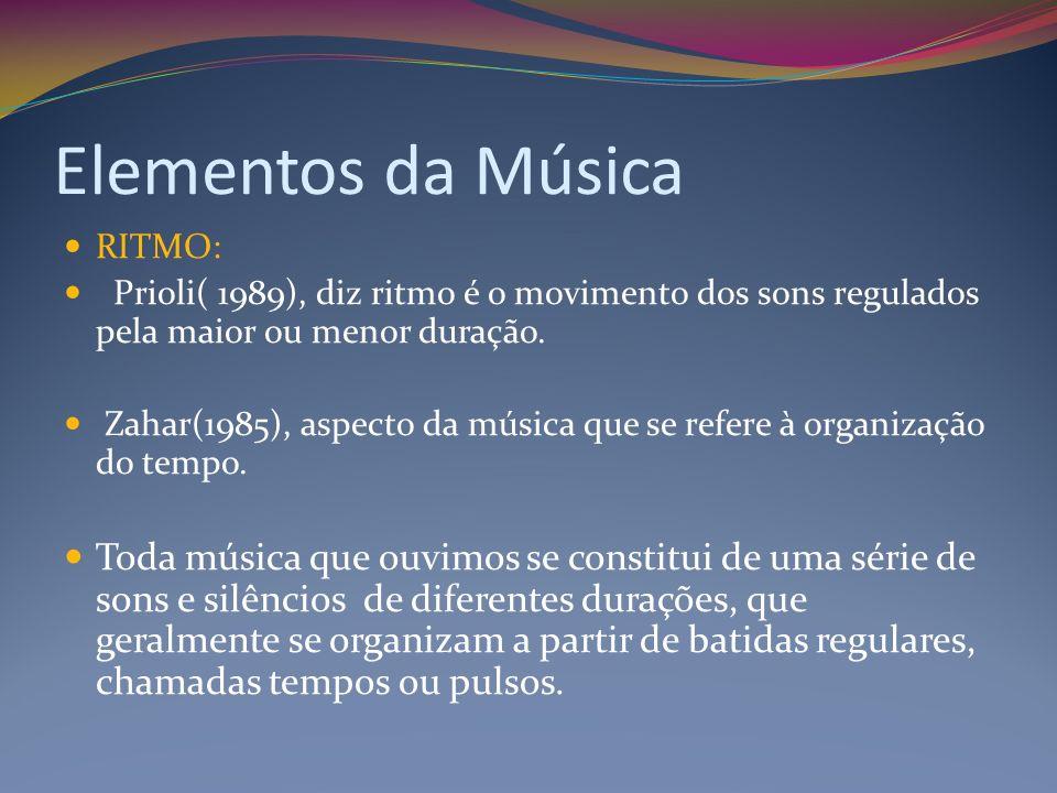 Elementos da Música RITMO: Prioli( 1989), diz ritmo é o movimento dos sons regulados pela maior ou menor duração.