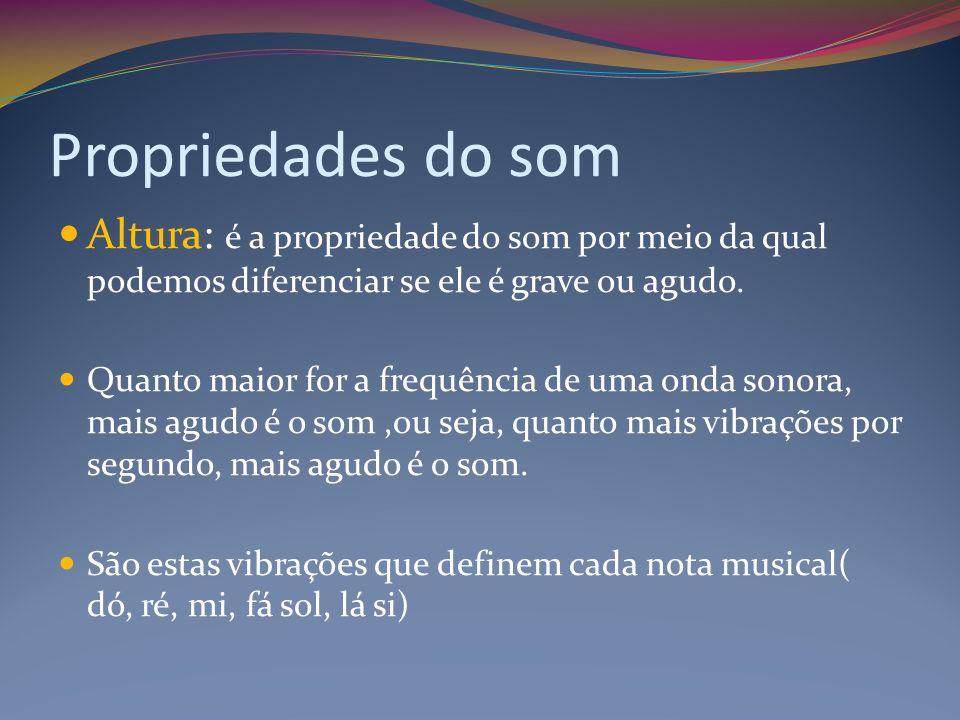 Propriedades do som Altura: é a propriedade do som por meio da qual podemos diferenciar se ele é grave ou agudo.