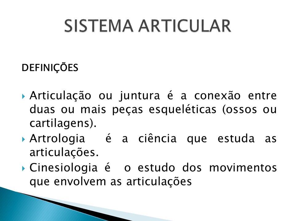 SISTEMA ARTICULAR DEFINIÇÕES. Articulação ou juntura é a conexão entre duas ou mais peças esqueléticas (ossos ou cartilagens).