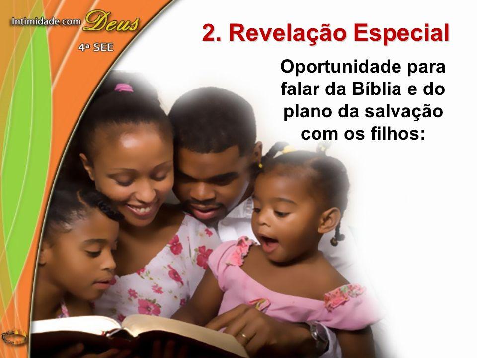 2. Revelação Especial Oportunidade para falar da Bíblia e do plano da salvação com os filhos: