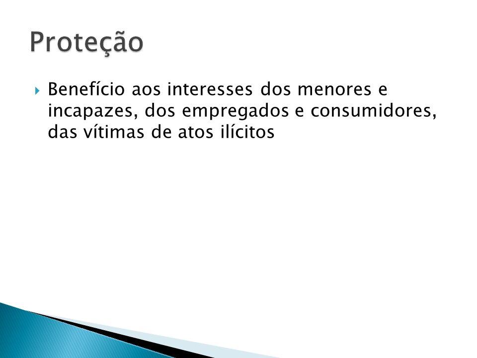Proteção Benefício aos interesses dos menores e incapazes, dos empregados e consumidores, das vítimas de atos ilícitos.
