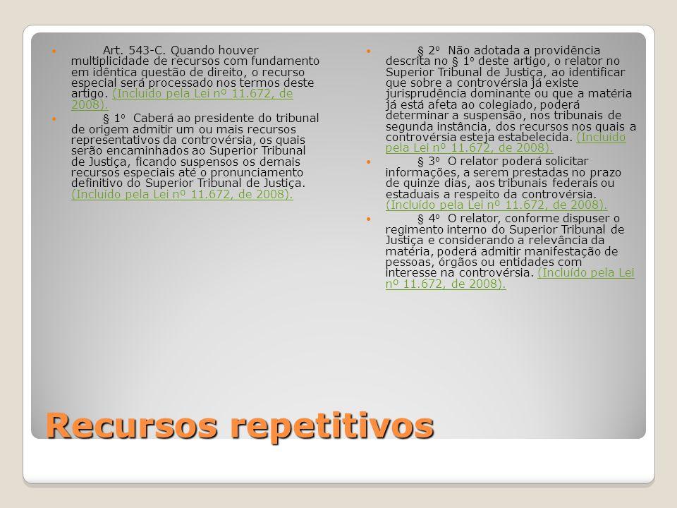 Art. 543-C. Quando houver multiplicidade de recursos com fundamento em idêntica questão de direito, o recurso especial será processado nos termos deste artigo. (Incluído pela Lei nº 11.672, de 2008).