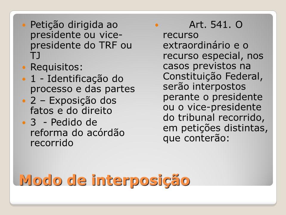 Petição dirigida ao presidente ou vice- presidente do TRF ou TJ