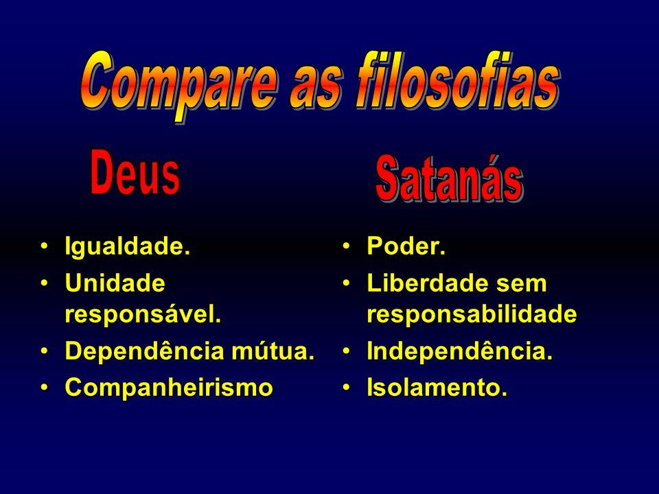 Compare as filosofias Deus Satanás Igualdade. Unidade responsável.