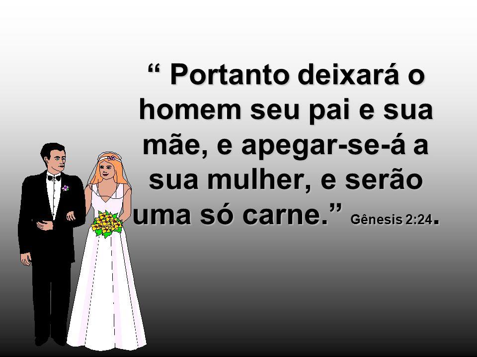 Portanto deixará o homem seu pai e sua mãe, e apegar-se-á a sua mulher, e serão uma só carne. Gênesis 2:24.