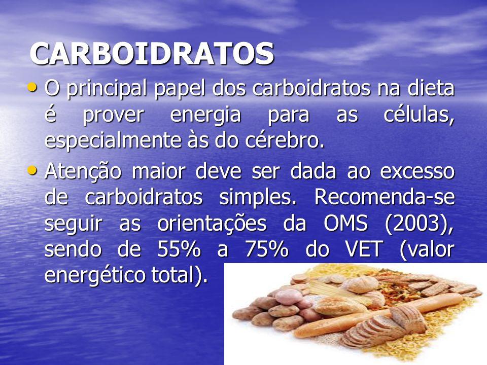 CARBOIDRATOS O principal papel dos carboidratos na dieta é prover energia para as células, especialmente às do cérebro.