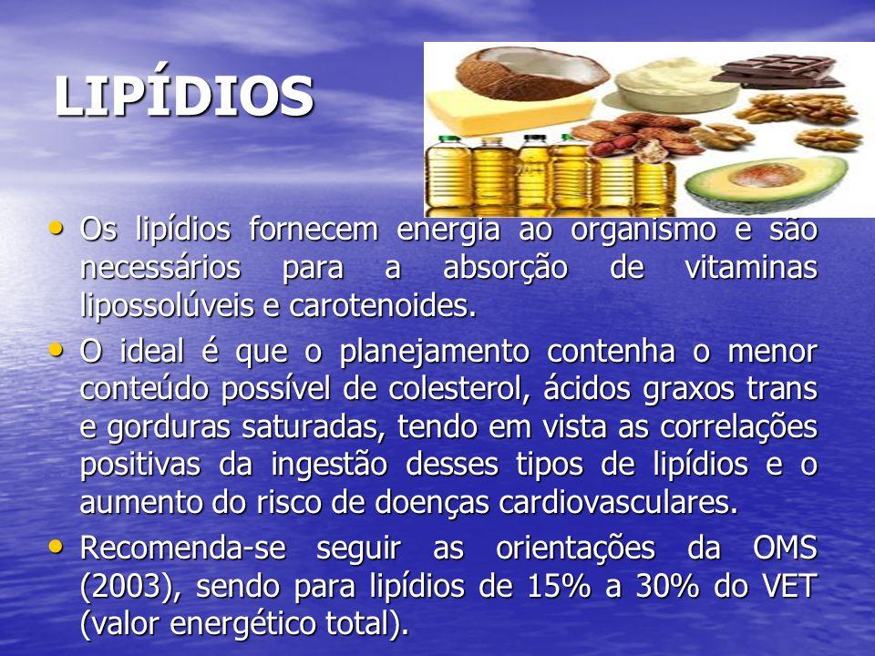 LIPÍDIOS Os lipídios fornecem energia ao organismo e são necessários para a absorção de vitaminas lipossolúveis e carotenoides.