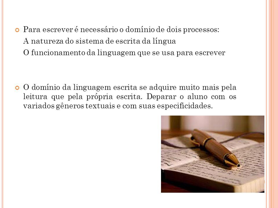 Para escrever é necessário o domínio de dois processos:
