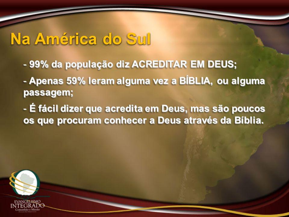 Na América do Sul 99% da população diz ACREDITAR EM DEUS;