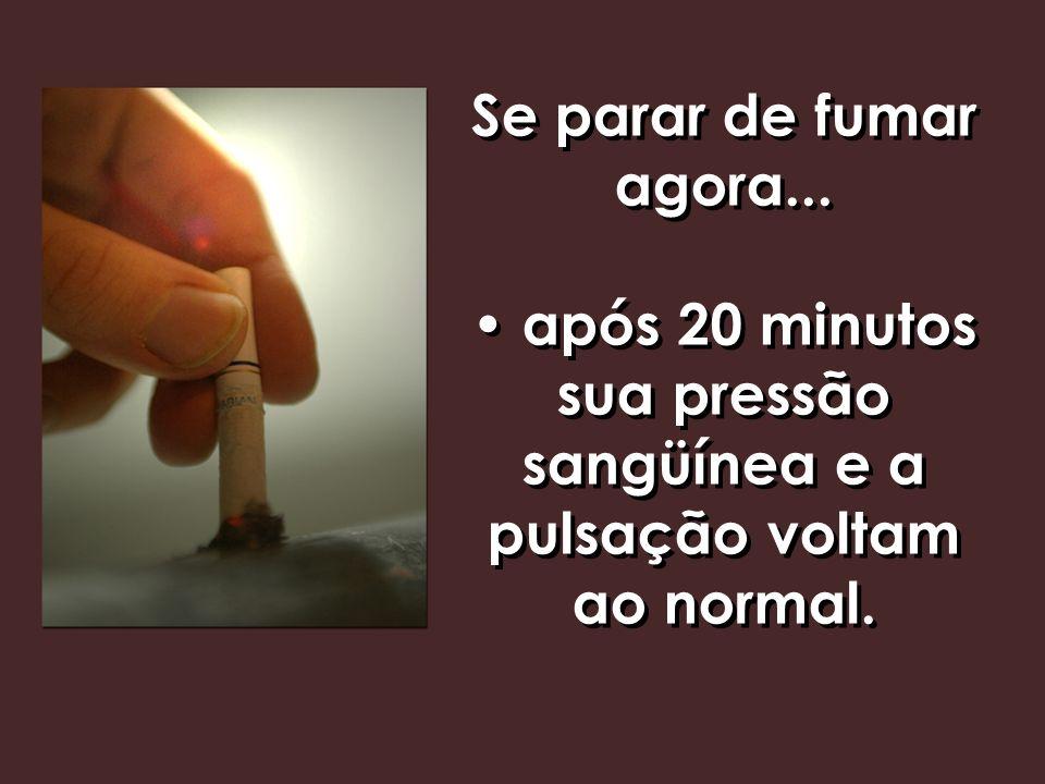 Se parar de fumar agora... • após 20 minutos sua pressão sangüínea e a pulsação voltam ao normal.