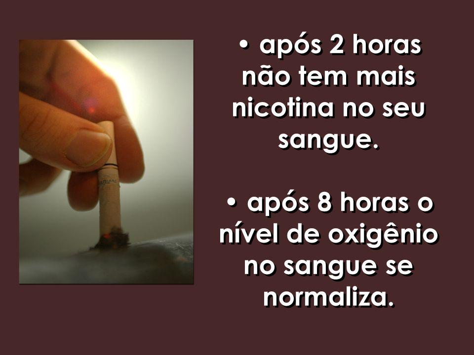 • após 2 horas não tem mais nicotina no seu sangue