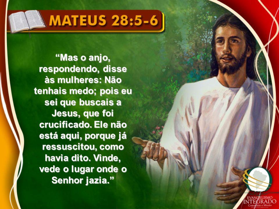 Mas o anjo, respondendo, disse às mulheres: Não tenhais medo; pois eu sei que buscais a Jesus, que foi crucificado.