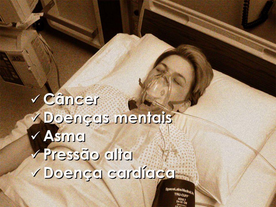 Câncer Doenças mentais Asma Pressão alta Doença cardíaca