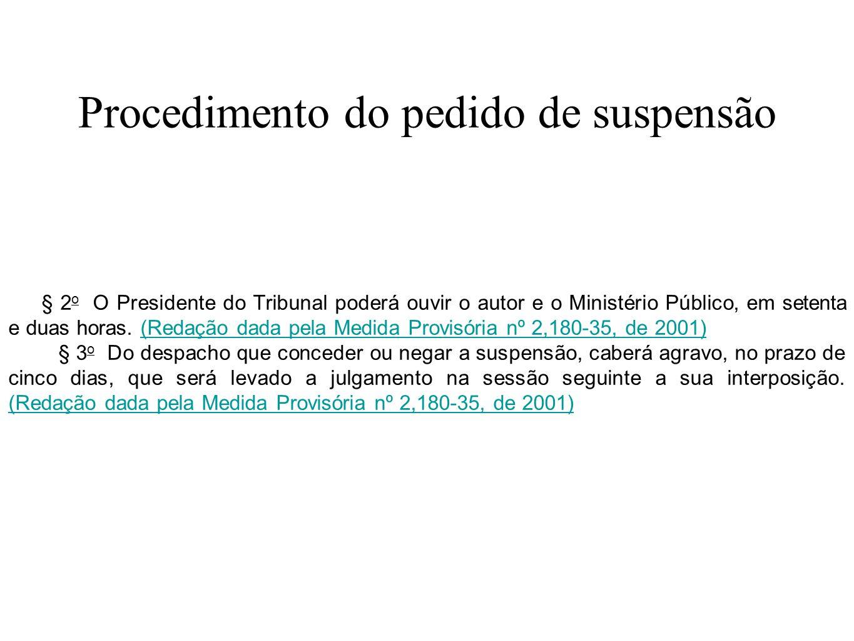 Procedimento do pedido de suspensão