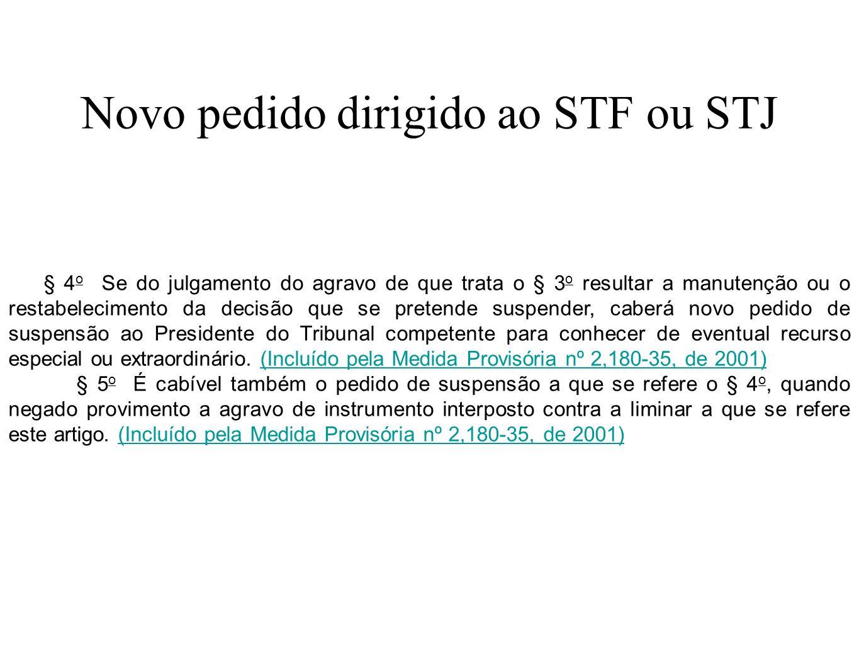 Novo pedido dirigido ao STF ou STJ