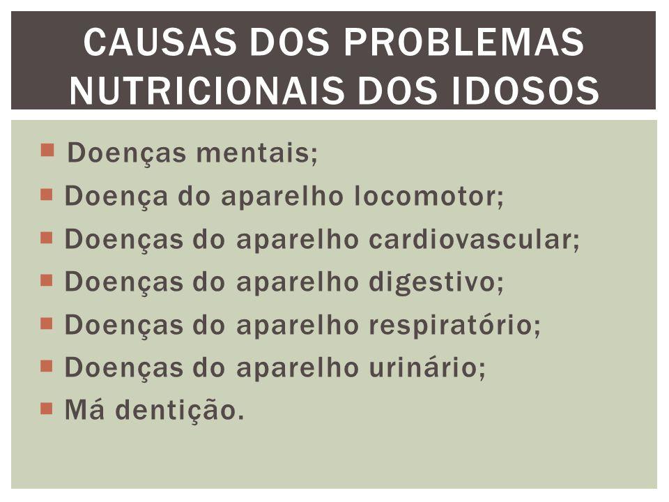 CAUSAS DOS PROBLEMAS NUTRICIONAIS DOS IDOSOS