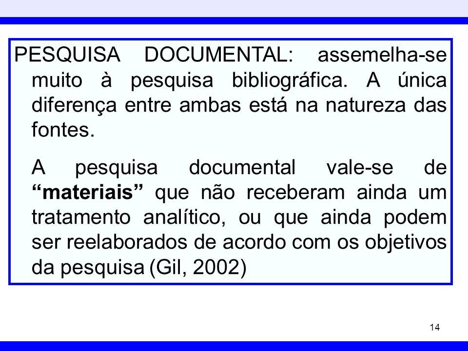PESQUISA DOCUMENTAL: assemelha-se muito à pesquisa bibliográfica
