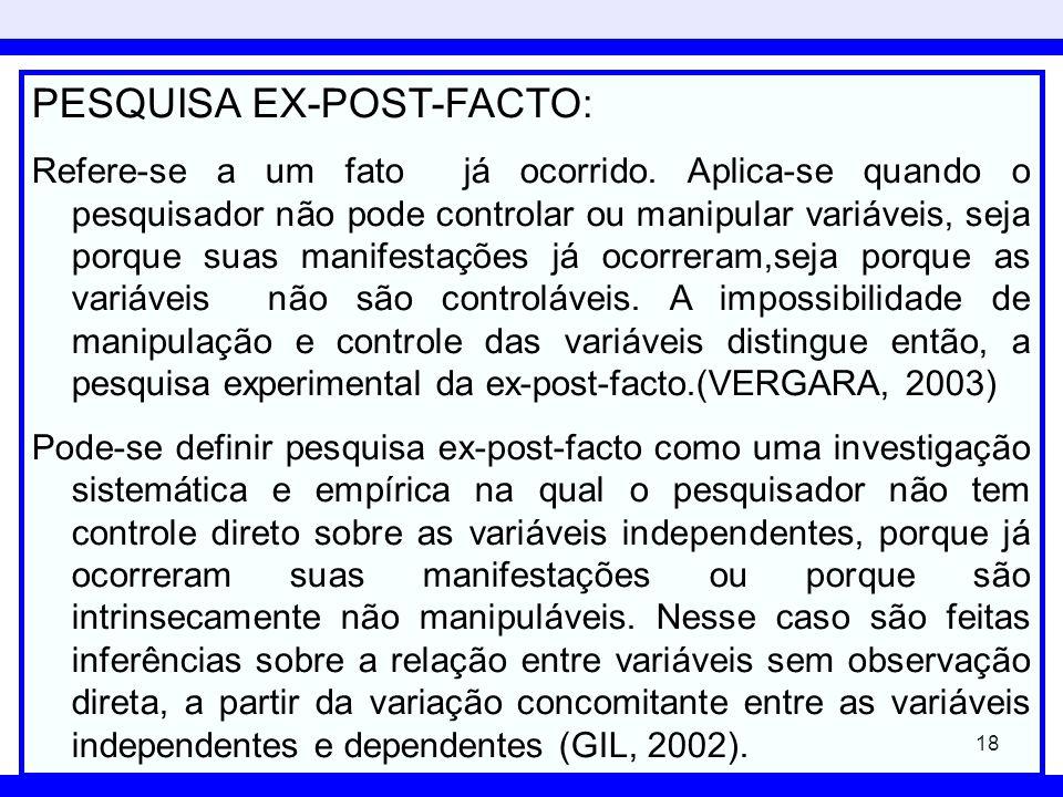 PESQUISA EX-POST-FACTO: