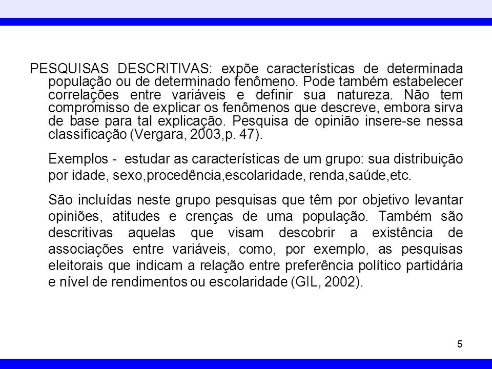 PESQUISAS DESCRITIVAS: expõe características de determinada população ou de determinado fenômeno. Pode também estabelecer correlações entre variáveis e definir sua natureza. Não tem compromisso de explicar os fenômenos que descreve, embora sirva de base para tal explicação. Pesquisa de opinião insere-se nessa classificação (Vergara, 2003,p. 47).