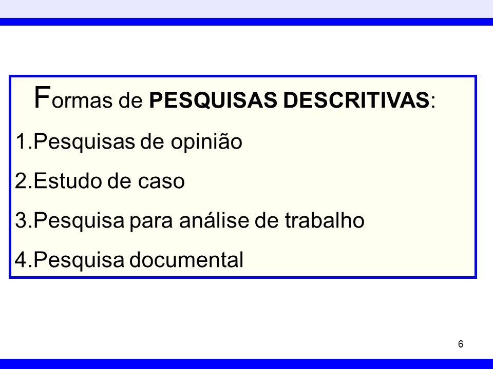 Formas de PESQUISAS DESCRITIVAS: