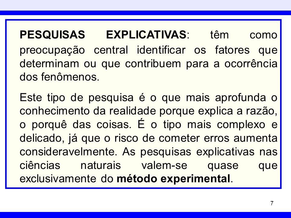 PESQUISAS EXPLICATIVAS: têm como preocupação central identificar os fatores que determinam ou que contribuem para a ocorrência dos fenômenos.