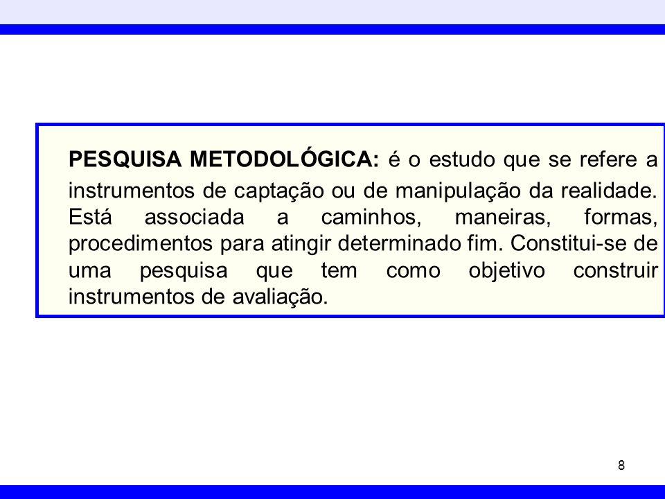 PESQUISA METODOLÓGICA: é o estudo que se refere a instrumentos de captação ou de manipulação da realidade.
