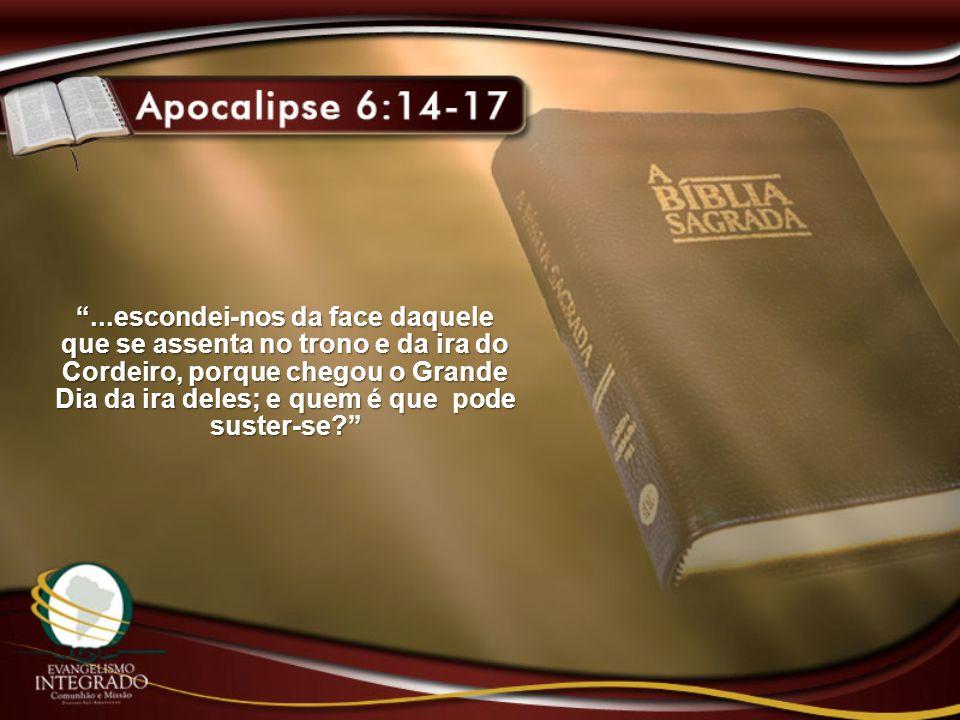 ...escondei-nos da face daquele que se assenta no trono e da ira do Cordeiro, porque chegou o Grande Dia da ira deles; e quem é que pode suster-se