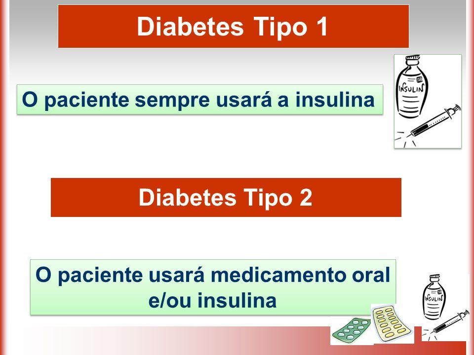 O paciente usará medicamento oral e/ou insulina